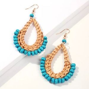 Beaded Rattan Earrings